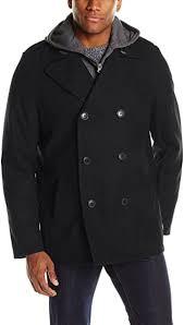 <b>Levi's</b> Men's <b>Wool Peacoat</b> with <b>Fleece</b> Bib and Hood, Black, Large ...