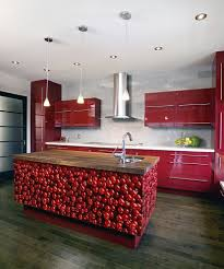 Red Kitchen Furniture Red Kitchen With Dark Cabinets