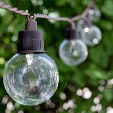 LED Solar Powered G40 String Lights  10 Lights  Outdoor Patio Lighting Solar