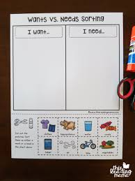 Needs And Wants Chart Wants Vs Needs Learning Pack Free This Reading Mama