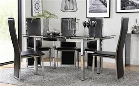 black and white dining room set. space chrome \u0026 black glass extending dining table with 6 celeste chairs and white room set