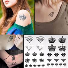 черный татуировки алмазов коронки временная вспышка татуировки
