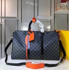 Designer Black Satchel Bags New Designer Luxury Handbags Fashion Plaid Black Leather With Oragne Color Satchel Bag Top Quality Ladies Brand Large Travel Bags 45 27 20cm Italian