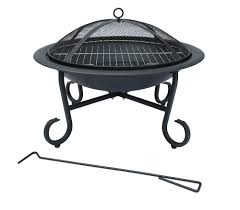 charles bentley 56cm round outdoor garden patio fire pit heater barbecue camping open bowl black