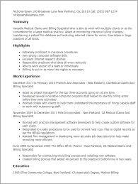 Medical Billing Resume Template Impressive Medical Claims And Billing Specialist Resume Template Best Design