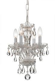 crystorama traditional swarovski strass crystal 4 light white mini chandelier