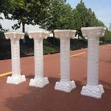 hollow flower design roman columns white color plastic pillars road cited wedding props event decoration supplies
