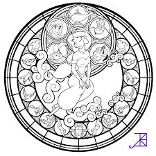 Stained Glass Coloring Pages Disney Princess Jasmine Coloringstar