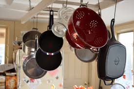Kitchen Storage For Pots And Pans Kitchen Wonderful Hanging Pot Rack Ideas With Regtangle Tile