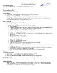 Sample Nurse Resume With Job Description