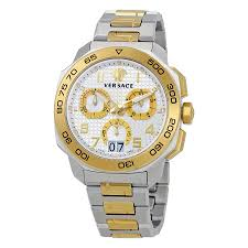 versace watches jomashop versace dylos silver dial men s two tone chronograph watch