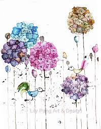 birds and lace flowers original watercolor painting