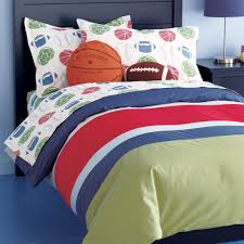 bedroom blue red green striped bedding set and red blue basket ball pillows on the