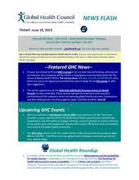 Ghc Chart Ghc News Flash Jun 19 2015 By Global Health Council Issuu