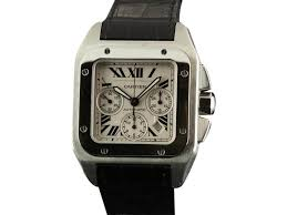 cartier santos 100 xl w20090x8 automatic chronograph leather watch