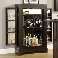 charming black brown wine rack furniture with glass door and blue wall decor also laminate floor