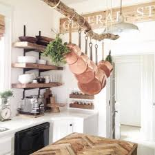 driftwood copper hanging cookware french kitchen