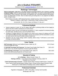 Entry Level Radiologic Technologist Resume Template Radiology Tech