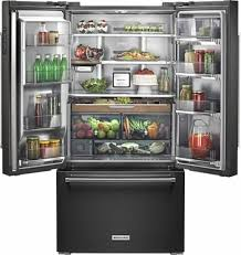 kitchenaid french door refrigerator. kitchenaid - 23.8 cu. ft. french door counter-depth refrigerator black stainless steel kitchenaid r
