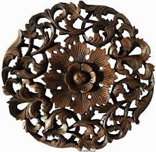 round wood carved fl wall art decor