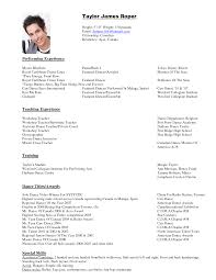 Resume Format For Dance Choreographer Dancer Resume Samples Perfect Concept Sample Dance Resumes Elegant 1