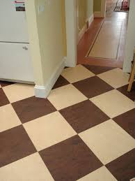 checd linoleum flooring kitchen marmoleum modular tile in checkerboard design in brown and