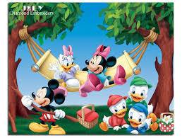 diy diamond painting cartoon drawing mickey mouse and donald duck swing together resin square diamond full