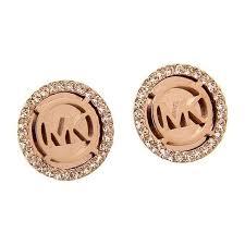 mk rose gold logo earrings