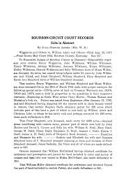 BOURBON CIRCUIT COURT RECORDS: Suits in Abstract