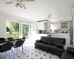 White Tile Flooring Living Room And Room Kitchen Living Room Lounge