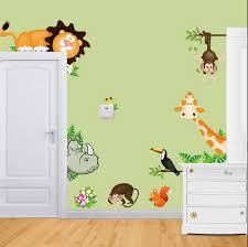 Cartoon <b>animals train</b> child room <b>wall stickers</b> for kids rooms boys ...