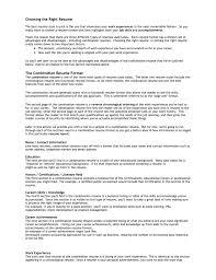Choosing The Right Resume