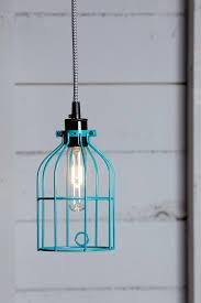 image of blue industrial pendant light blue pendant lighting
