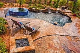 pool deck in stamped concrete with slate skin pattern looks amazing design sam s outdoor