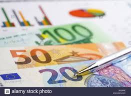 Chart Rubel Euro Us Dollar And Euro Banknotes Money On Chart Graph