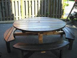 round picnic table wooden picnic tables toenail two sides with wood s to the table top round picnic table wooden