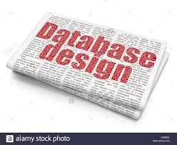 Database Design And Programming Programming Concept Database Design On Newspaper Background