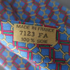 Mens Hermes Blue Gold Chain Red And Green Striped Print Silk Tie At