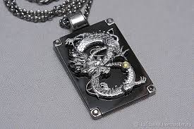 white gold pendant the dragon jewelry handmade kirill kalita
