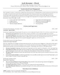 Entry Level Construction Resumes Sample Project Manager Resume Entry Level Construction Projec