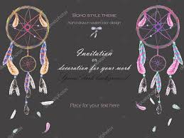 How Dream Catchers Work Unique Background Template Postcard With The Watercolor Dreamcatchers And