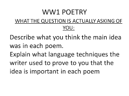 breaking down the questions of essay writing ppt  ww1 poetry