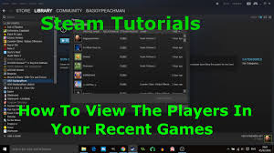 steam tutorial how to view the players in your recent games youtube