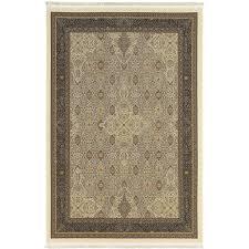 5 x 8 medium ivory and black area rug masterpiece