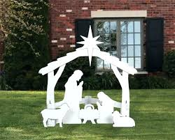 outdoor wooden nativity scene lawn decor yard set at night large white display p white wooden outdoor nativity scene