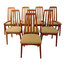 set of 8 mid century danish modern hornslet style teak dining chairs