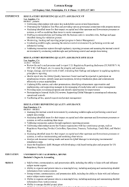 Download Regulatory Reporting Quality Assurance Resume Sample as Image file
