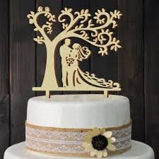 Wedding Cake Topper Wooden Bride Groom Tree Party Decor Mrmrs