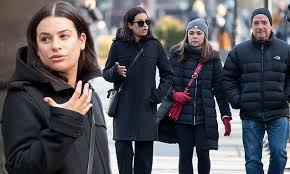 make up free lea michele displays her natural beauty as she steps out in all black for a stroll with her pas in nyc