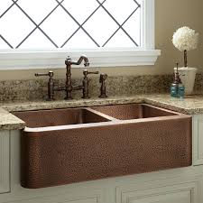 hammered copper kitchen sink: quot hammered copper   offset double bowl farmhouse sink small bowl
